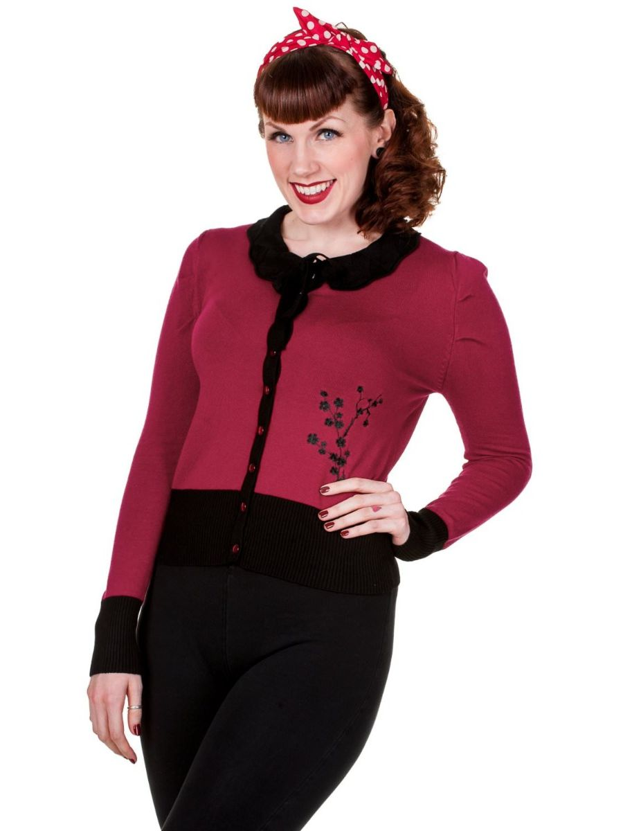 Banned Retro 1950's Paloma Floral Scalloped Collar Vintage Cardigan Burgundy