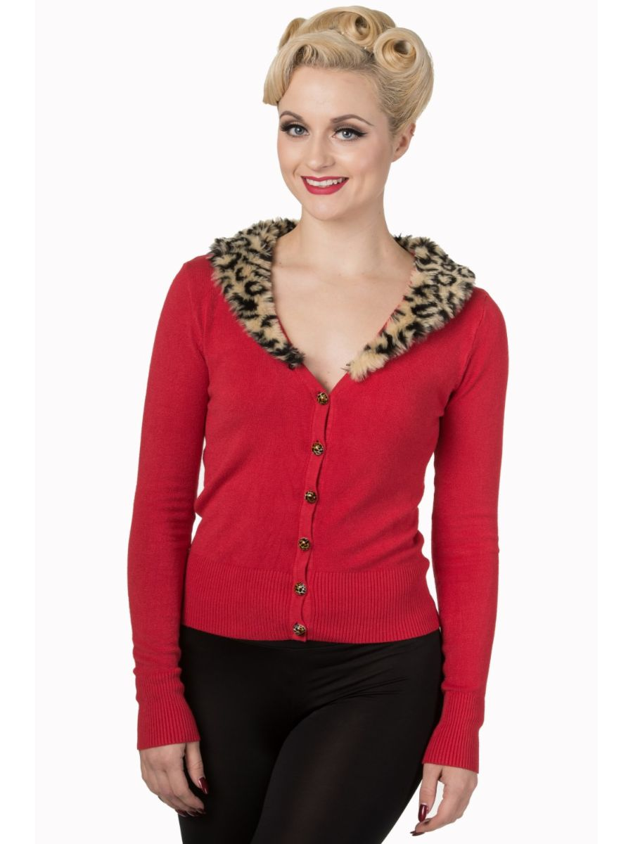 Banned Retro 1950's Sweet Nothing Faux Fur Leopard Collar Anita Vintage Rockabilly Cardigan Red