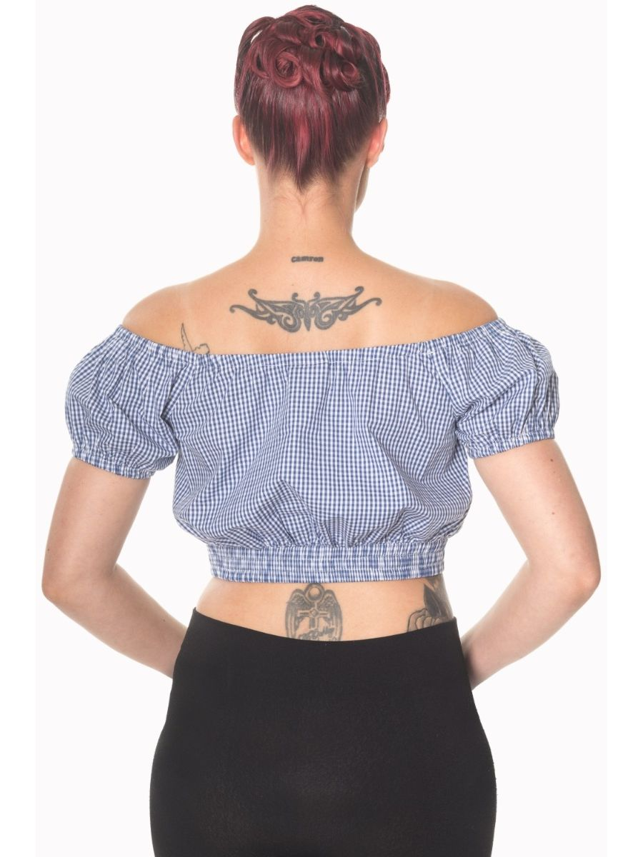 Banned Retro 1950's All Mine Gingham Check Off Shoulder Crop Top Navy