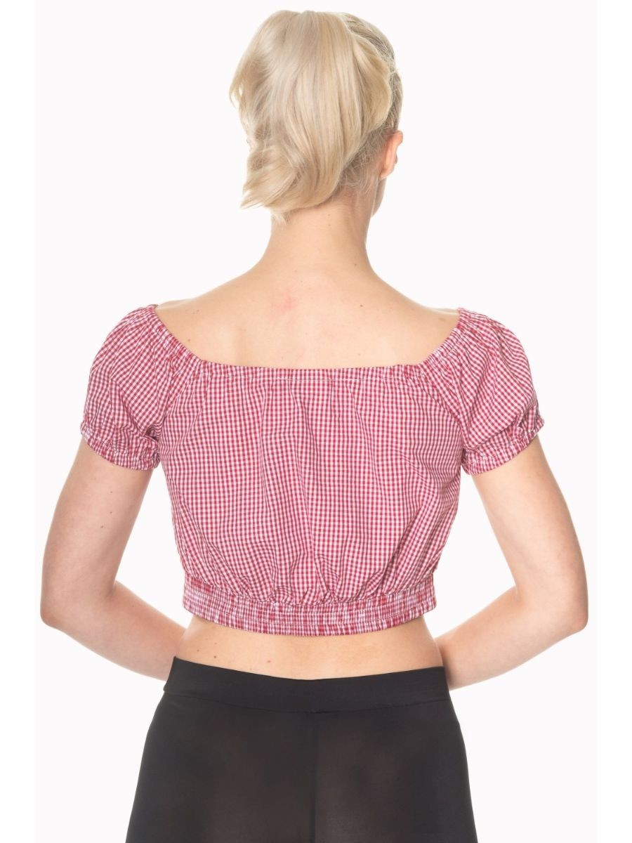 Banned Retro 1950's All Mine Gingham Check Off Shoulder Crop Top Red