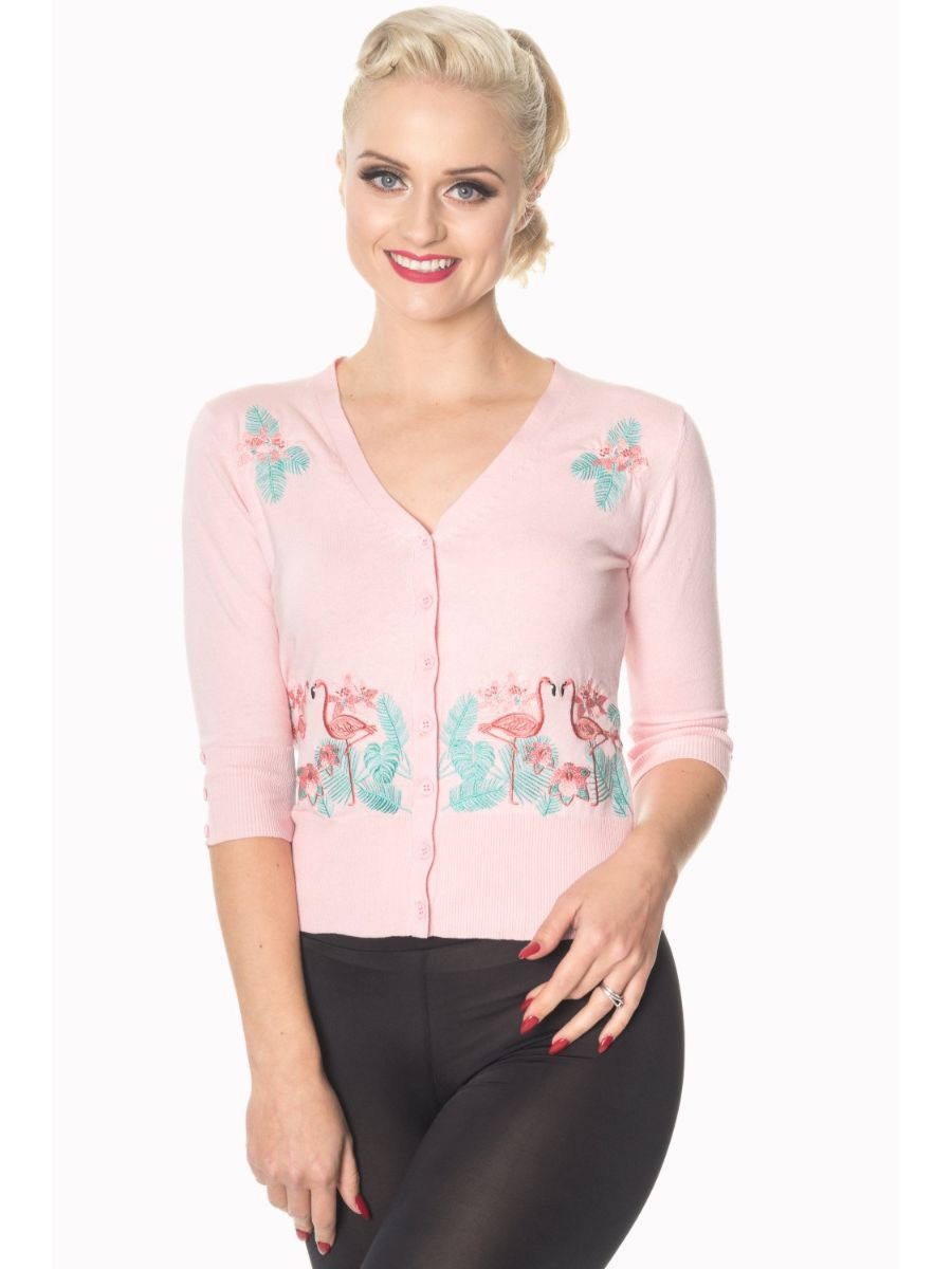 Banned Retro 1950's Face To Face Flamingo Cropped Vintage Cardigan Pink