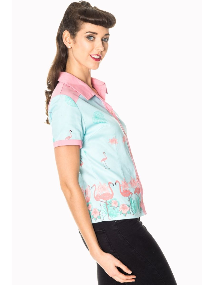 Banned Retro 1950's Going My Way Flamingo Collar Rita Blouse Blue