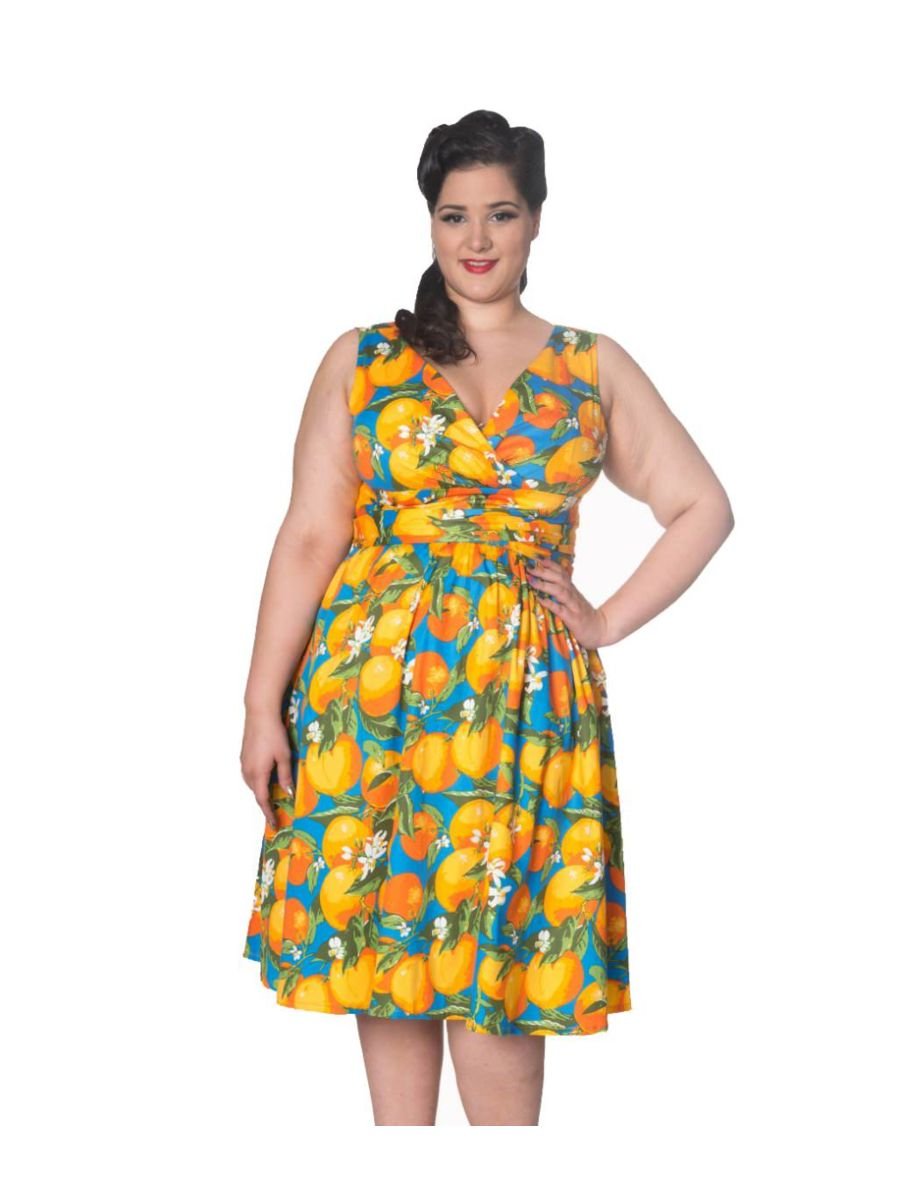 LANEWAY ORANGE PRINT TEA DRESS