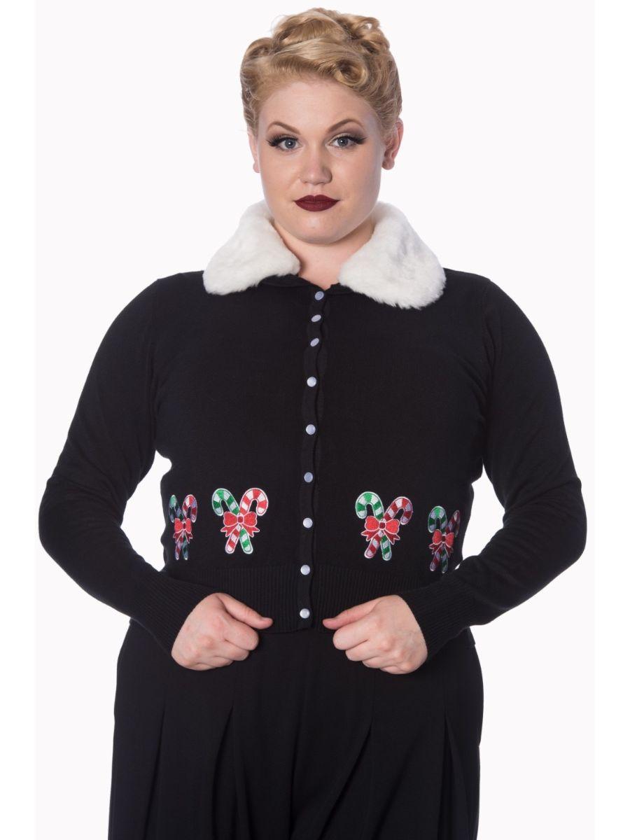 Banned Retro 1950's Aria Candy Cane Faux Fur Christmas Vintage Anita Cardigan Black
