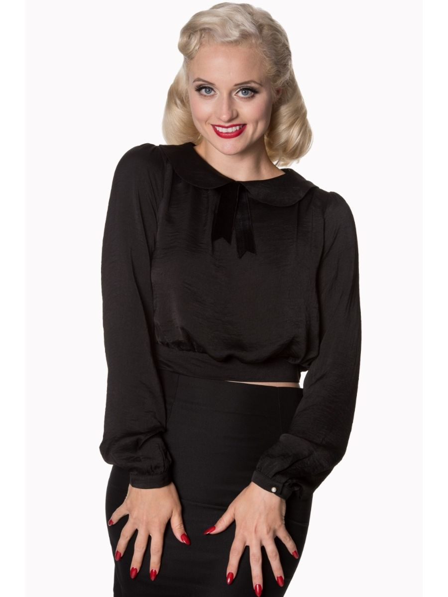 Banned Retro 1950's Freshwater Crop Peter Pan Collar Blouse Black