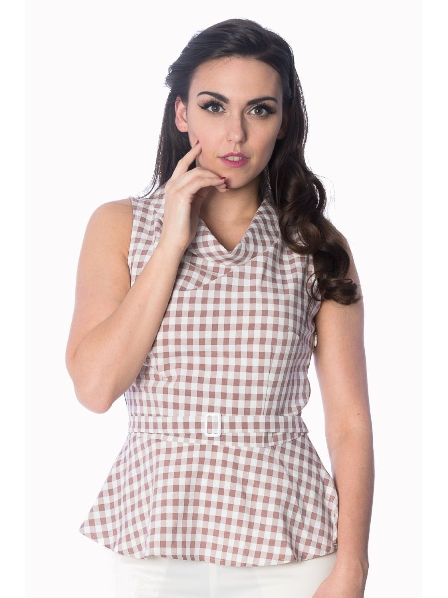 Banned Retro 60's Summer Breeze Gingham Check Cowl Neck Peplum Top Pink