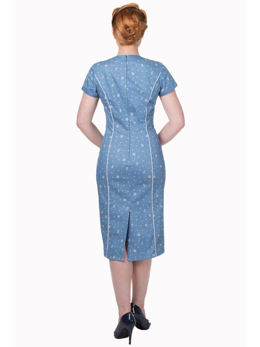 SWEET TALKER DENIM NAUTICAL PENCIL DRESS