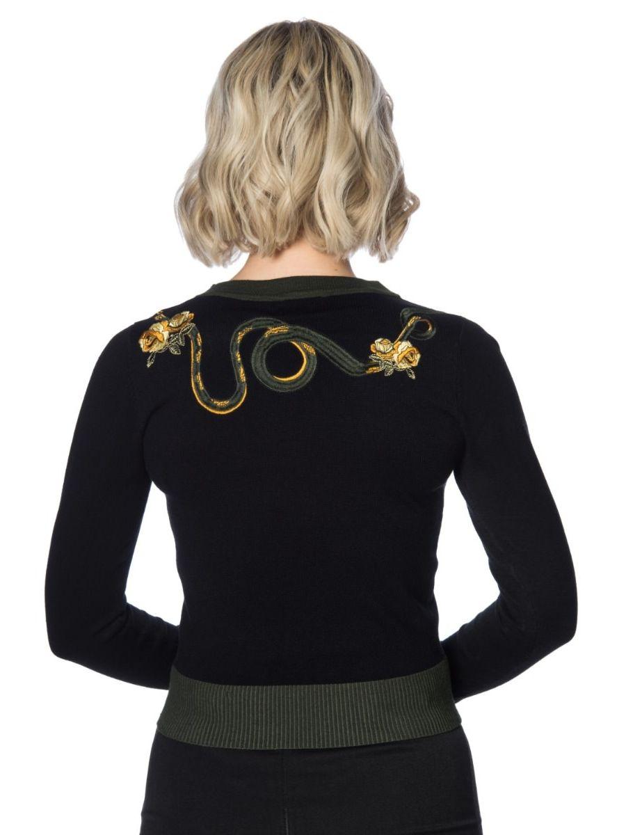Banned Retro Serpent & Roses Knitted Vintage Jumper Black