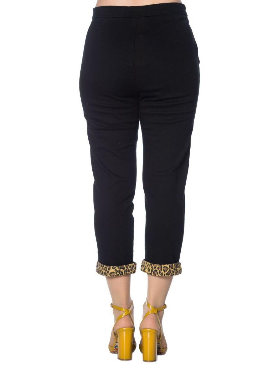Banned Retro 1950's Rock 'N' Roll Leopard Rockabilly Vintage Denim Capri Trouser Black