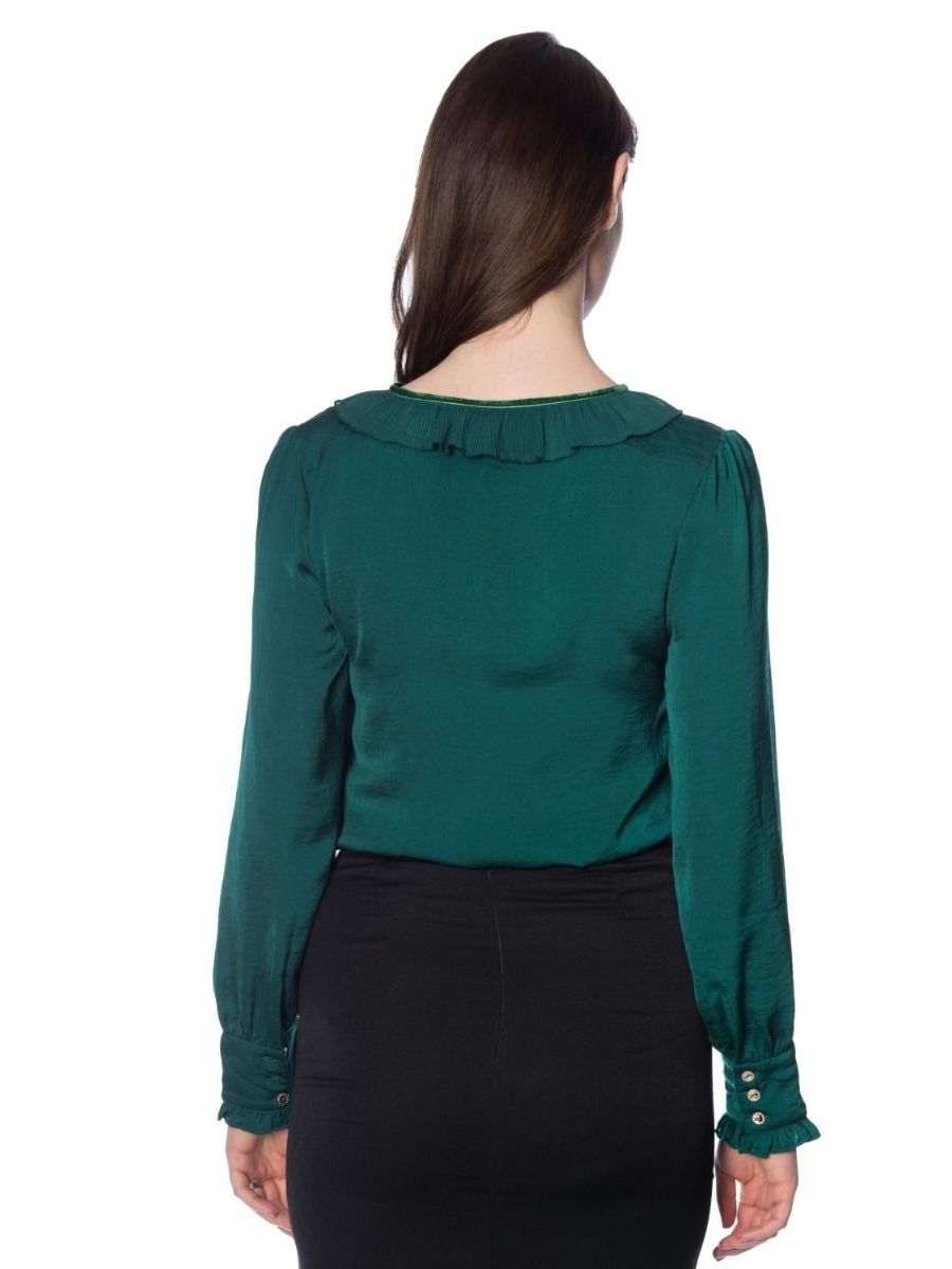 Banned Retro 1950's Perfect Pleated Frill Collar Puff Sleeve Vintage Blouse Dark Green