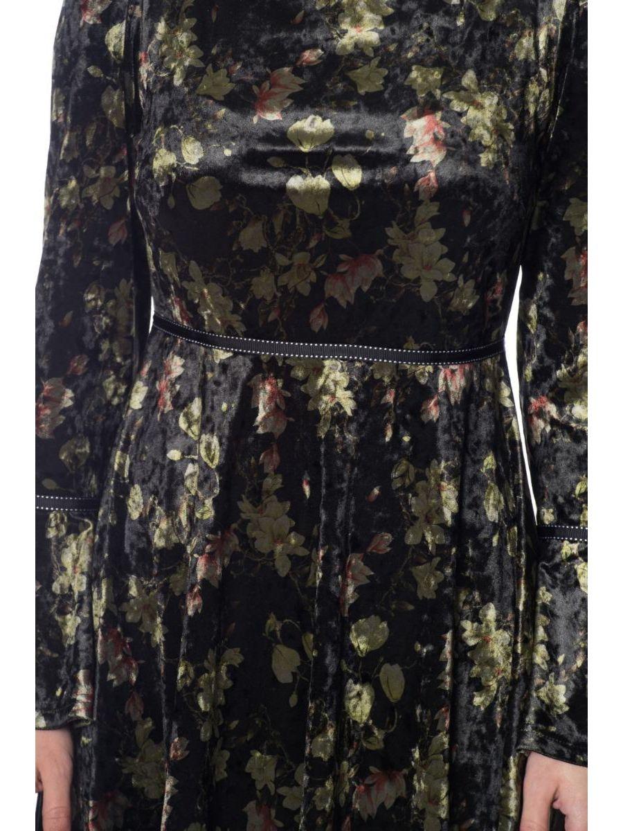 FINOA FLORAL VELOUR DRESS