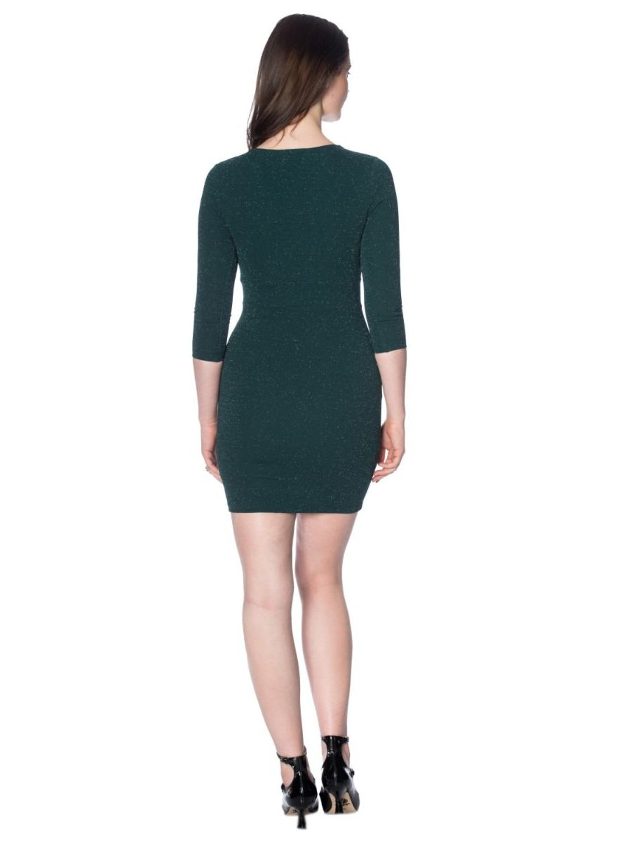GREEN WITH ENVY GLITZY BODYCON DRESS