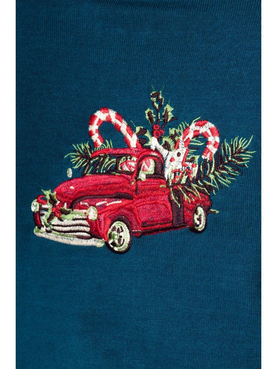 Banned Retro 1950's Christmas Drive Thru Embroidery Keyhole Vintage Hazel Cardigan Blue