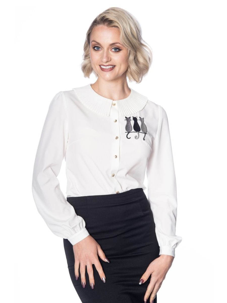 Banned Retro 1950's Creative Cat Vintage Pleated Peter Pan Collar Blouse White