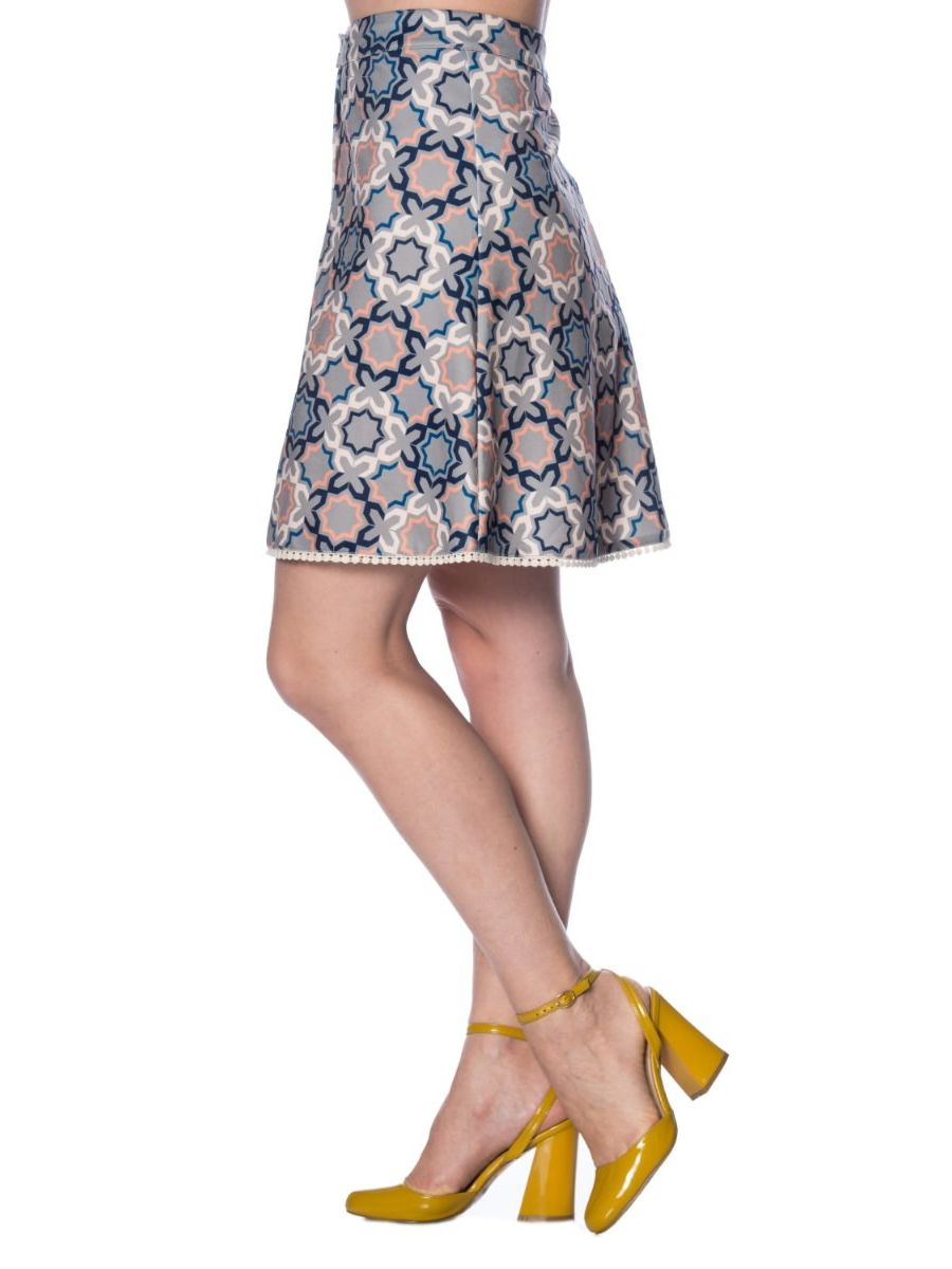 70's TILE BUTTON UP SKIRT