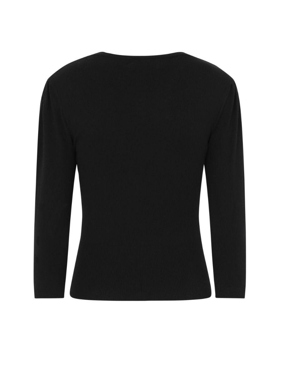 Banned Retro 1950's Cat Scallop Collar Vintage Cardigan Black