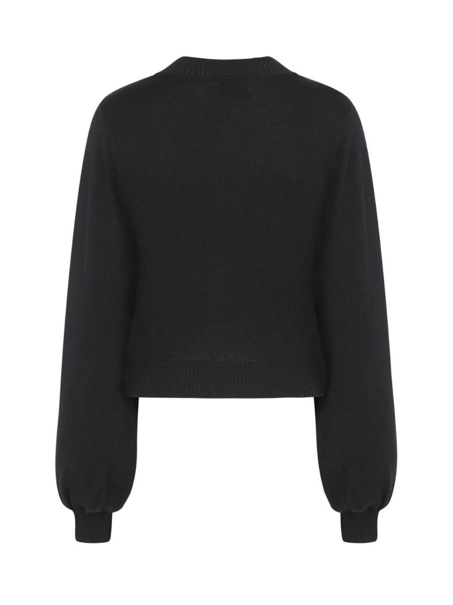 Banned Retro Balloon Sleeve Black Soft Knit High Neck Vintage Crop Top Black