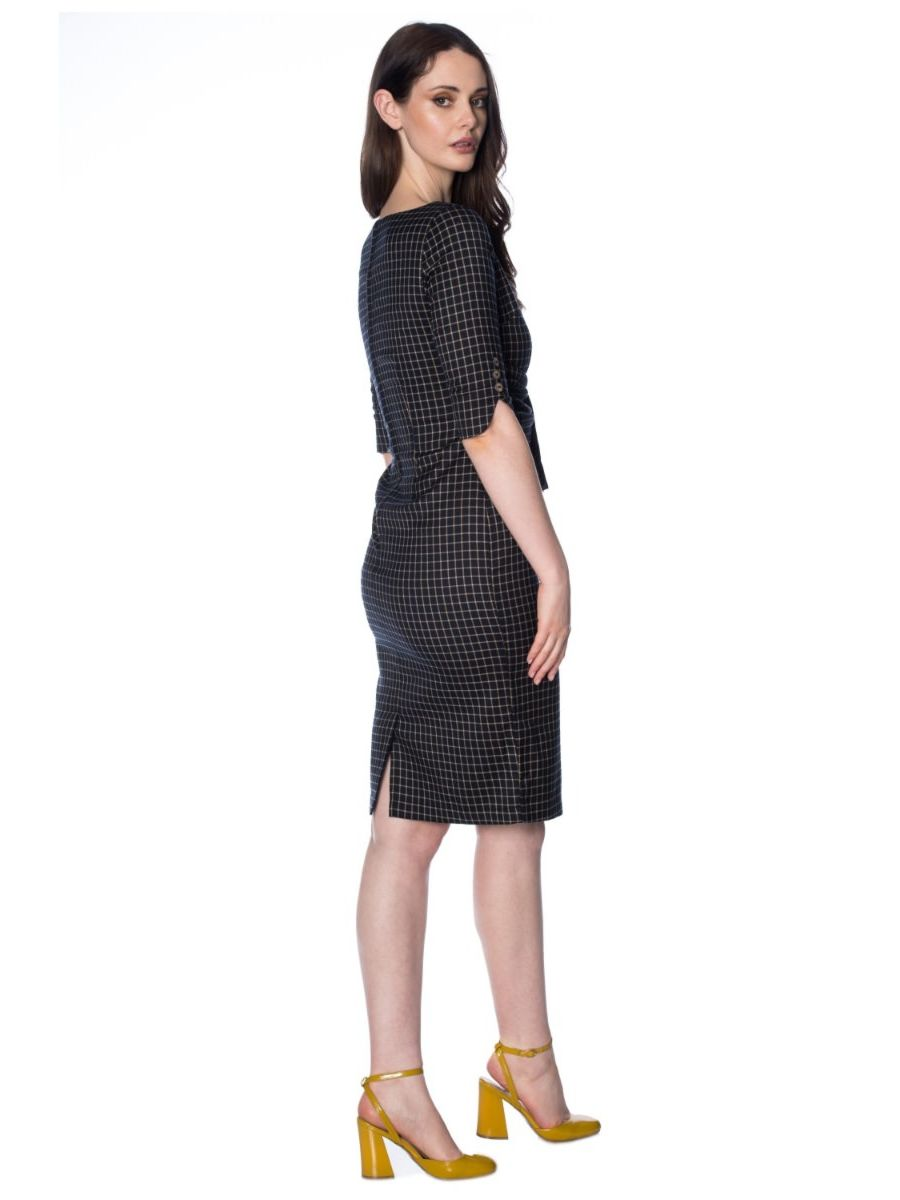 PATRICIA CHECK PENCIL DRESS