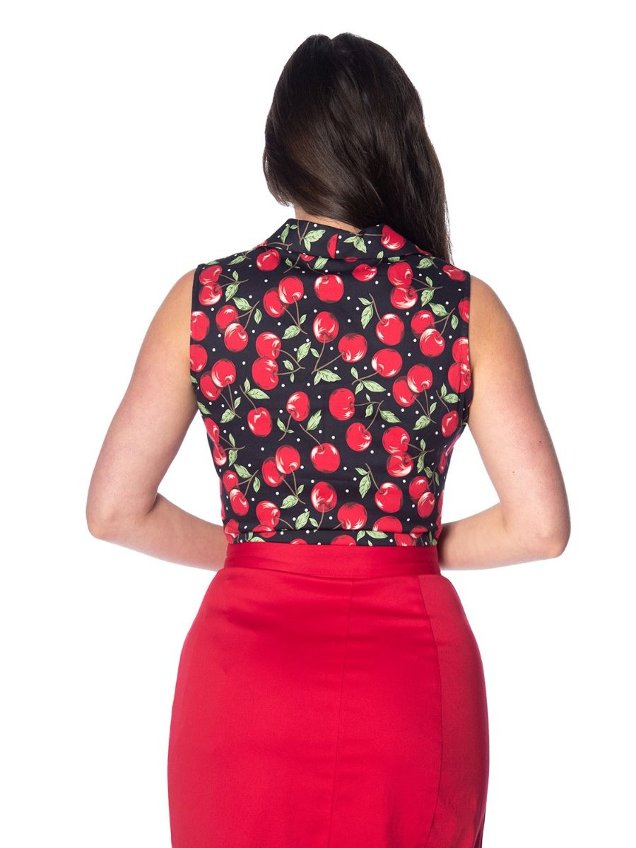 Banned Retro 1950's Cherry Soda Tie Up Crop Top Blouse Black