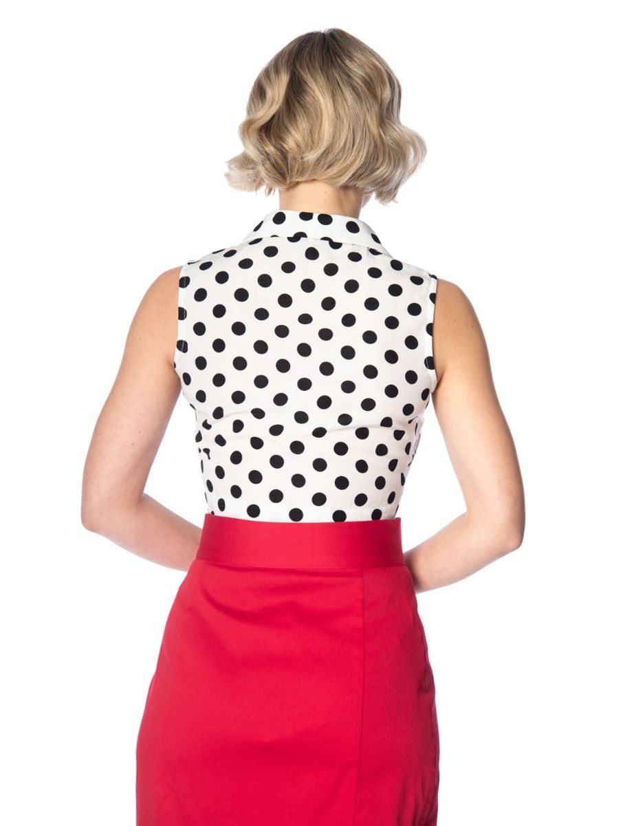Banned Retro 1950's Black Polka Dot Love Tie Up Crop Top Blouse White