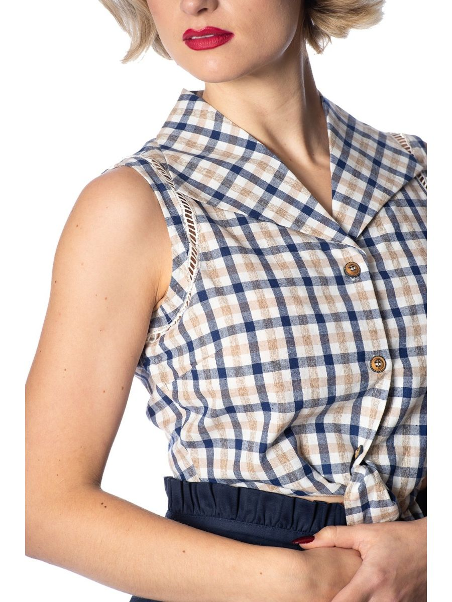 Banned Retro 1950's Let's Vacay Check Tie Up Crop Blouse Blue