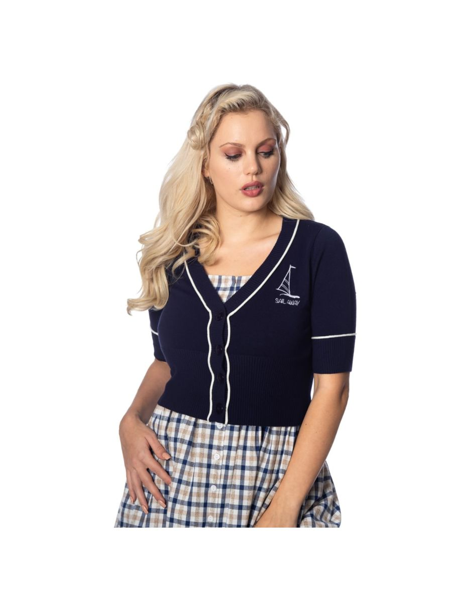 Banned Retro 1950's Sail Away Embroidery Nautical Cropped Vintage Cardigan Navy