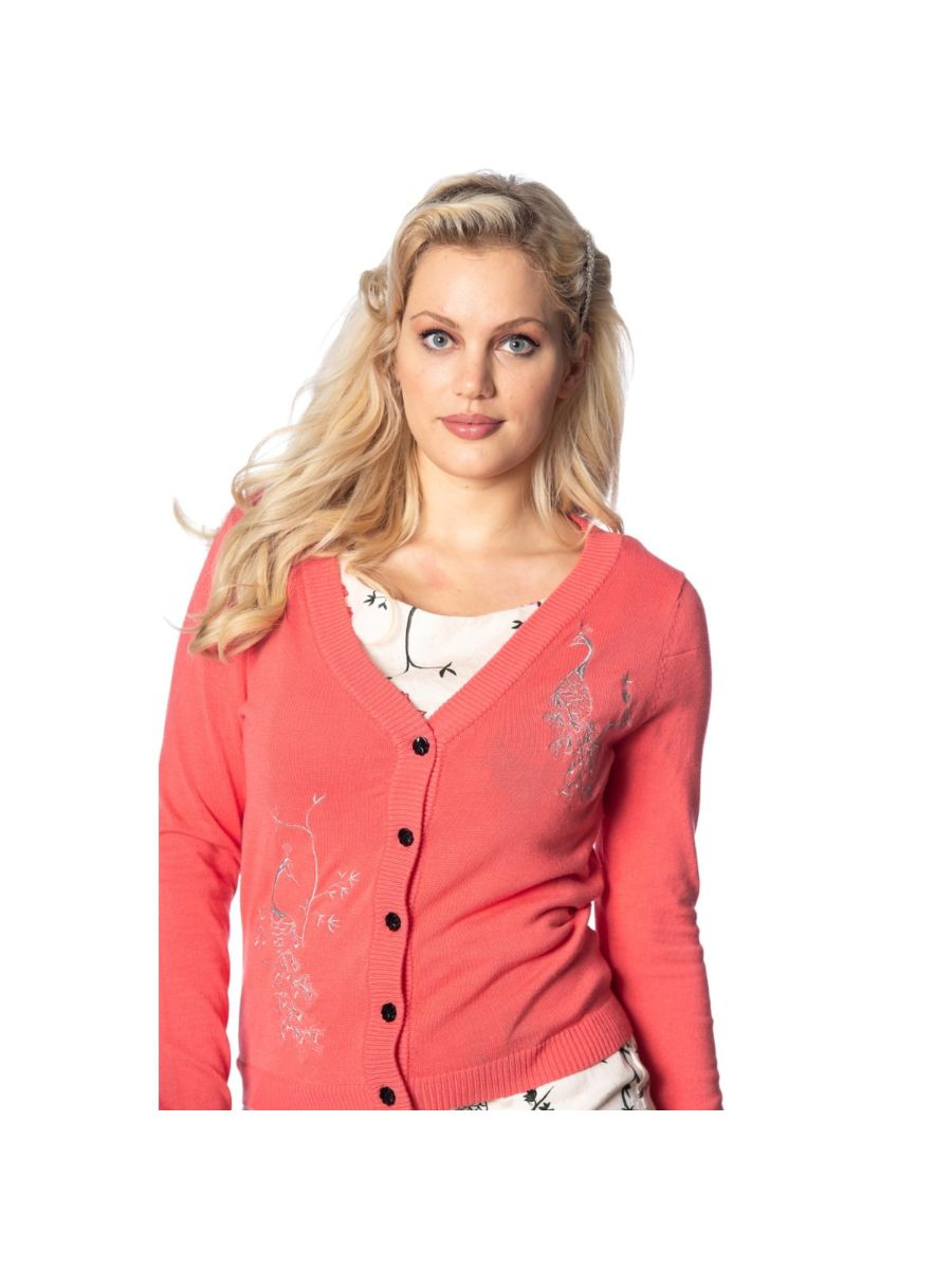 Banned Retro 1950's Elaborate Peacock Embroidery Vintage Cardigan Coral Pink