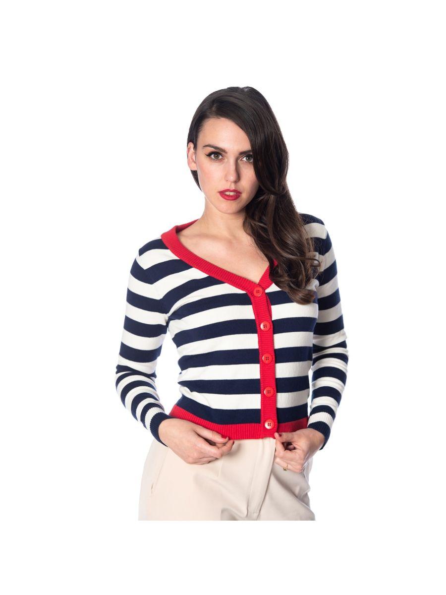 Banned Retro Sail Away Stripe Nautical Vintage Cardigan Navy