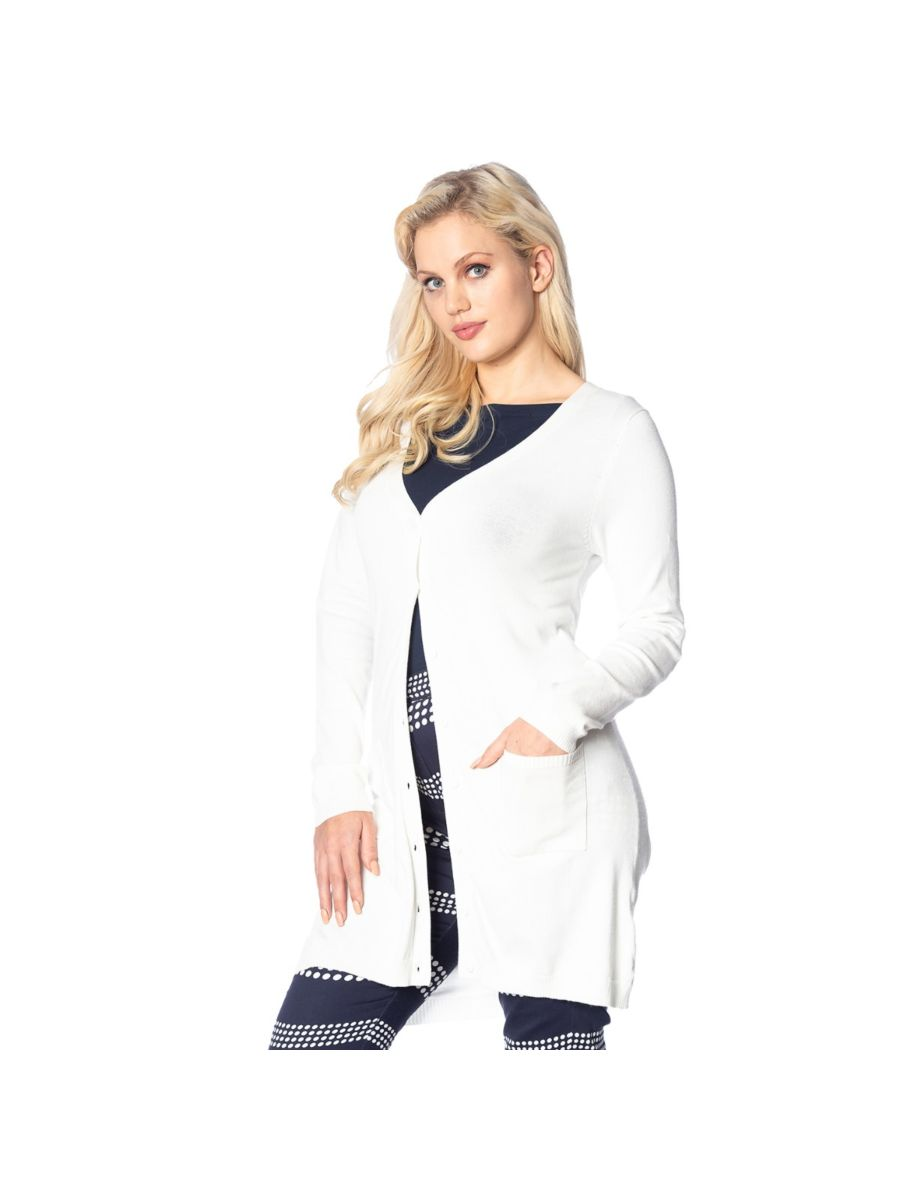 Banned Retro Katie Long Cardigan White