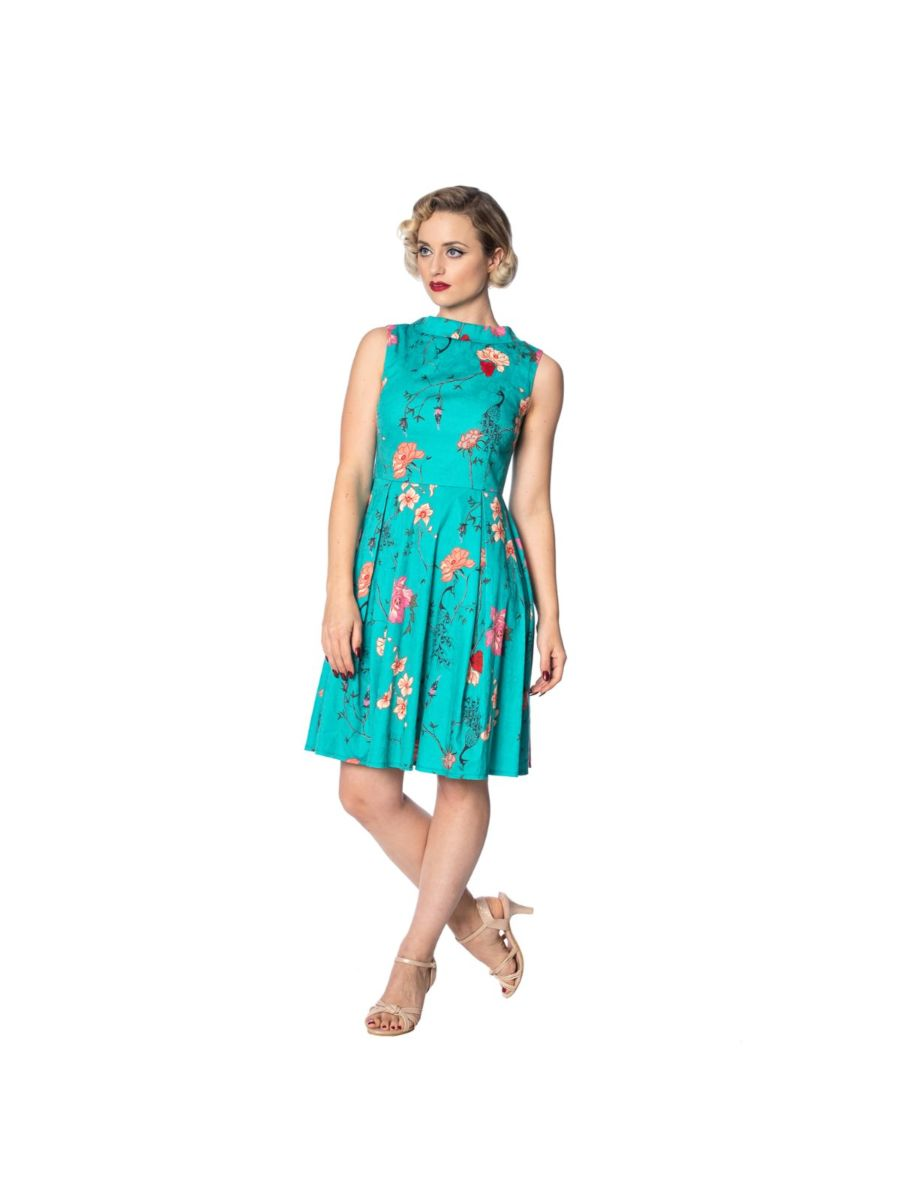 PEACOCK BAROQUE FIT & FLARE DRESS