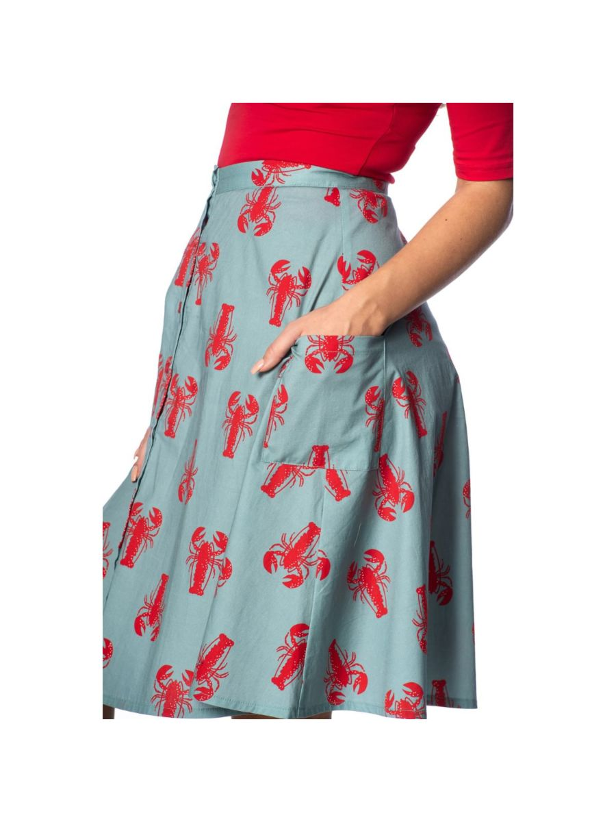 LOBSTER LOVE BUTTON UP FLARED SKIRT