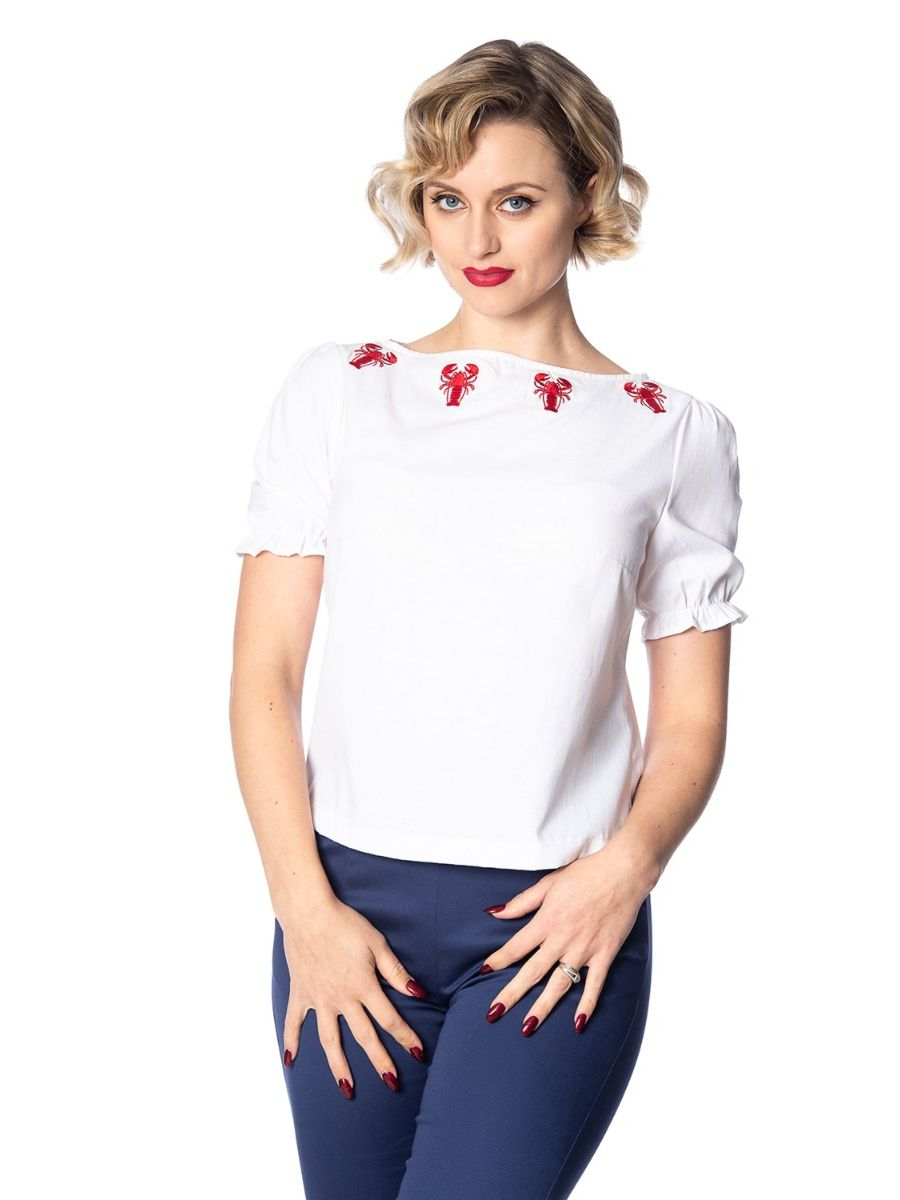 Banned Retro 1950's Lobster Love Embroidery Frill Vintage Nautical Top White