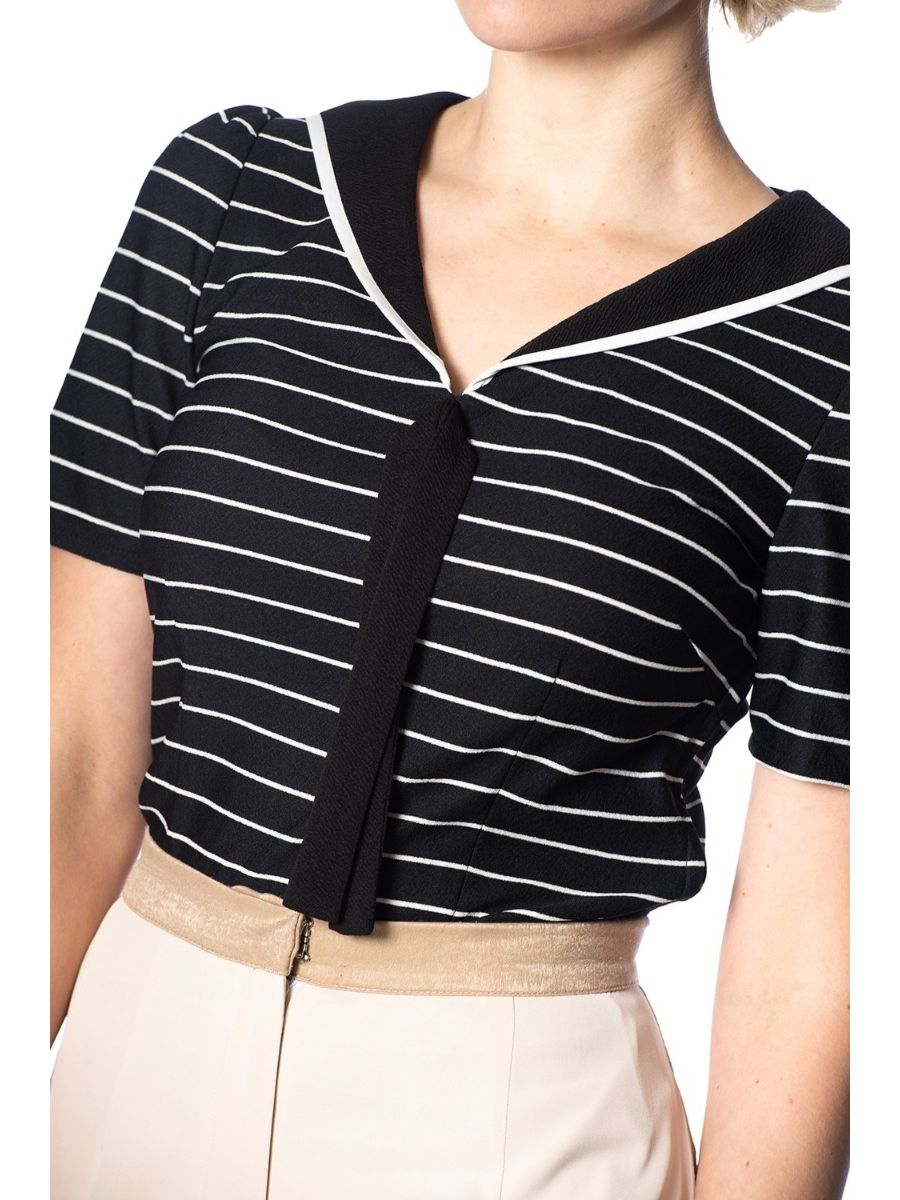 Banned Retro 1950's Pier Stripe Jersey Sailor Nautical Knit Top Black White