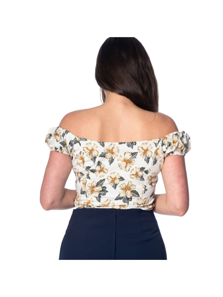 Banned Retro Beach Babe Floral Vintage Off Shoulder Top White