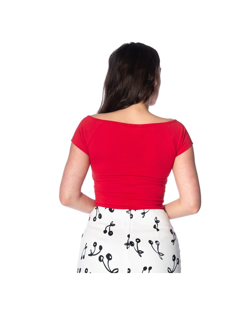 Banned Retro 1950's Bow Wow V-Neck Vintage Top Red