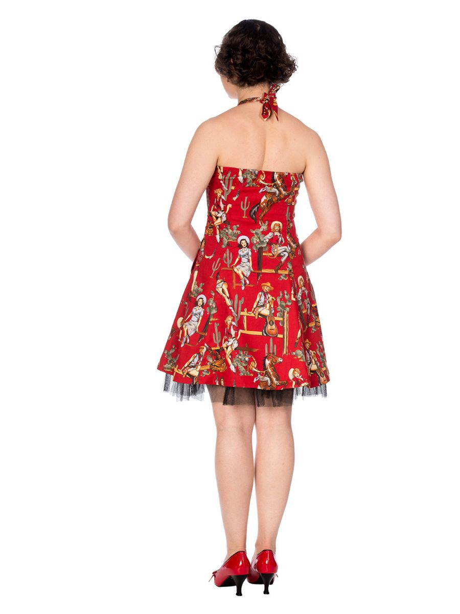 COWGIRL HALTER FLARE RED DRESS