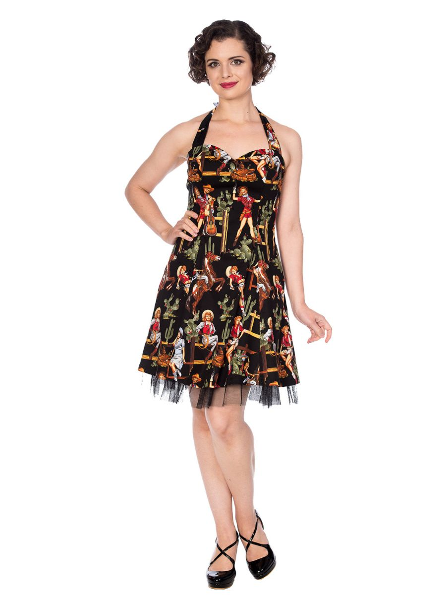 COWGIRL HALTER FLARE DRESS