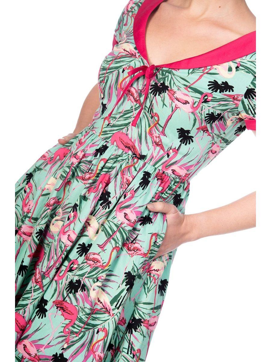 SWEET FLAMINGOS FIT & FLARE DRESS