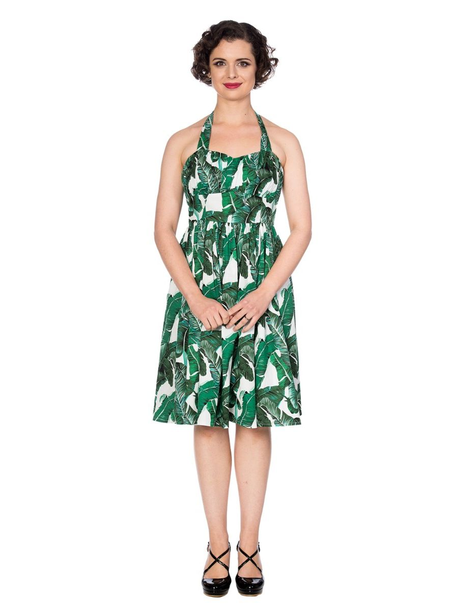 TROPICAL LEAF FIT & FLARE DRESS