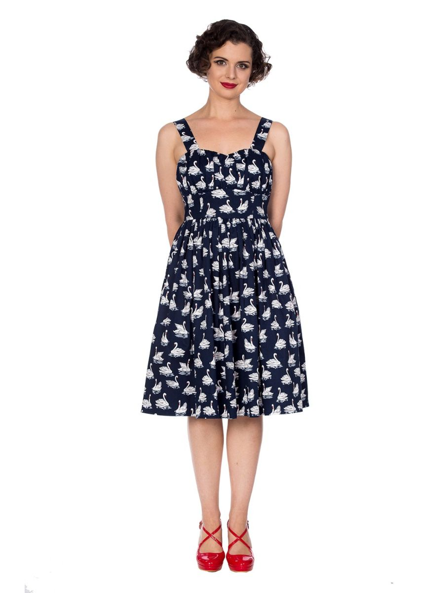 SUMMER SWAN STRAPPY FIT AND FLARE DRESS