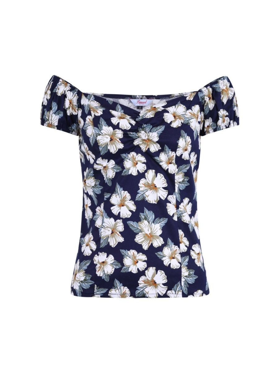 Banned Retro Beach Babe Floral Vintage Off Shoulder Top Navy