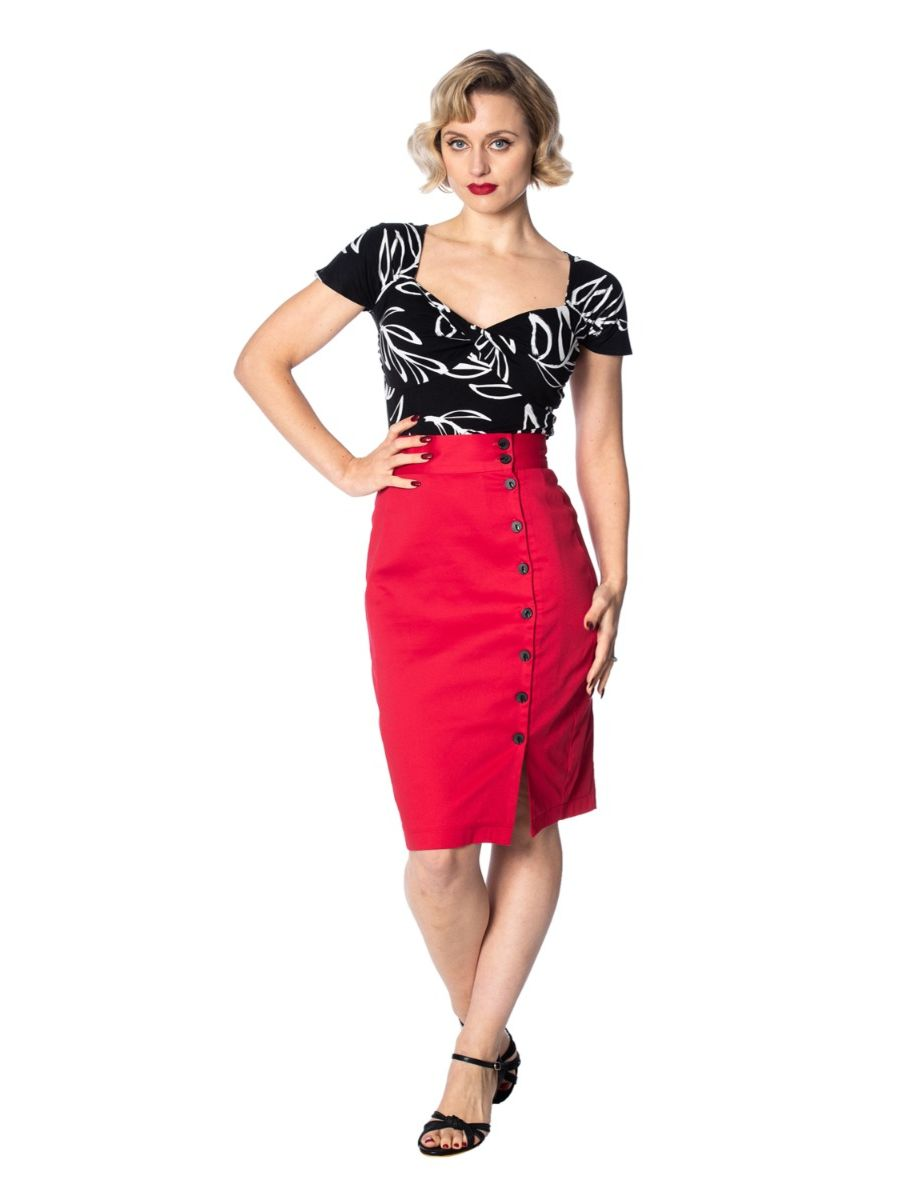 Banned Retro 1950's Palm Twist Floral Wrap Top Black