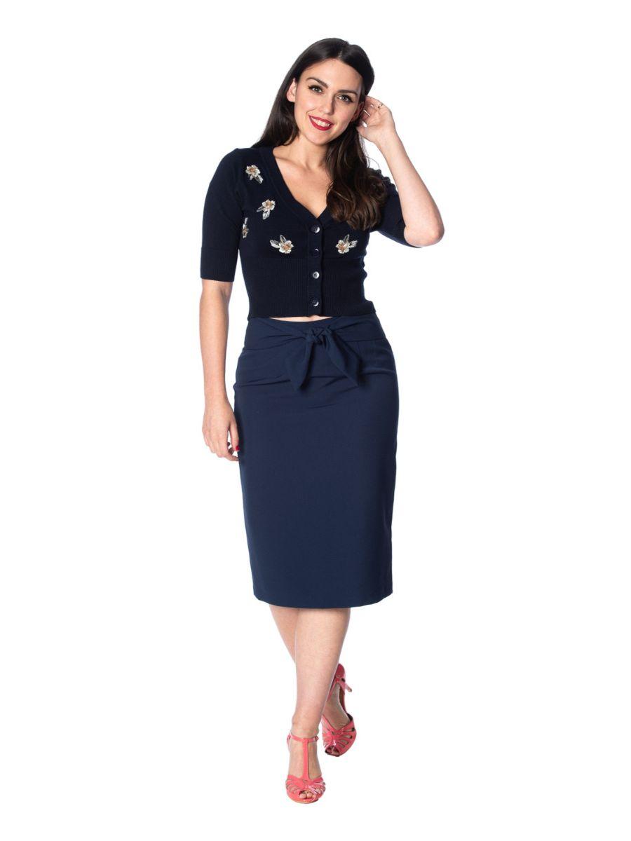 Banned Retro 1950's Tiki Floral Cropped Vintage Cardigan Navy