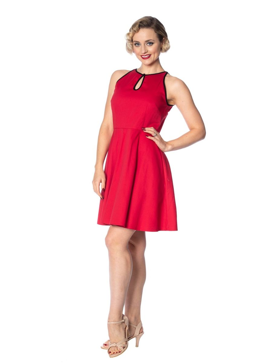 ROCKIN RED KEYHOLE DRESS
