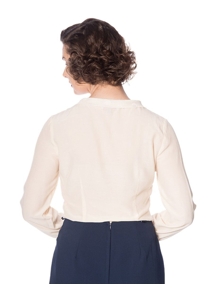 Banned Retro 1950's The Betty Ruffle Vintage Bell Sleeve Blouse Cream