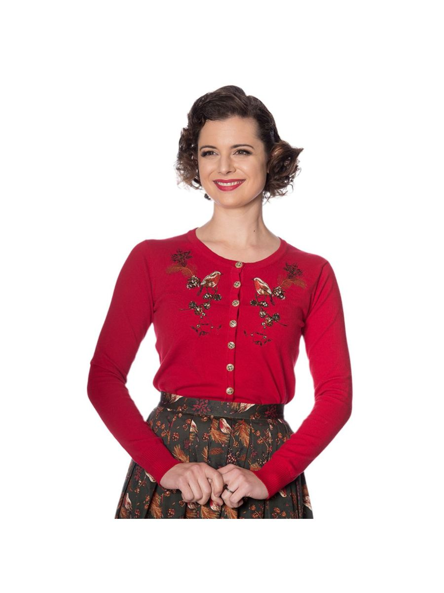 Banned Retro 1950's Rockin Robin Christmas Embroidery Vintage Gina Cardigan Red