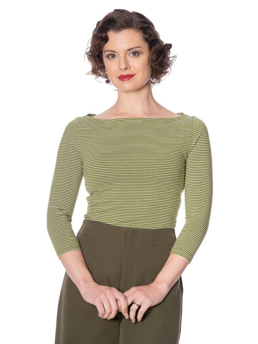 Banned Retro 1950's Winter Stripe Vintage Dorothy Top Green