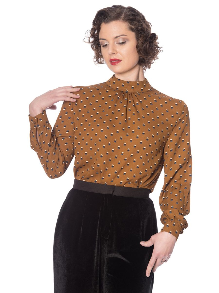 Banned Retro 20's Funnel High Neck Blouson Sleeve Vintage Top Brown