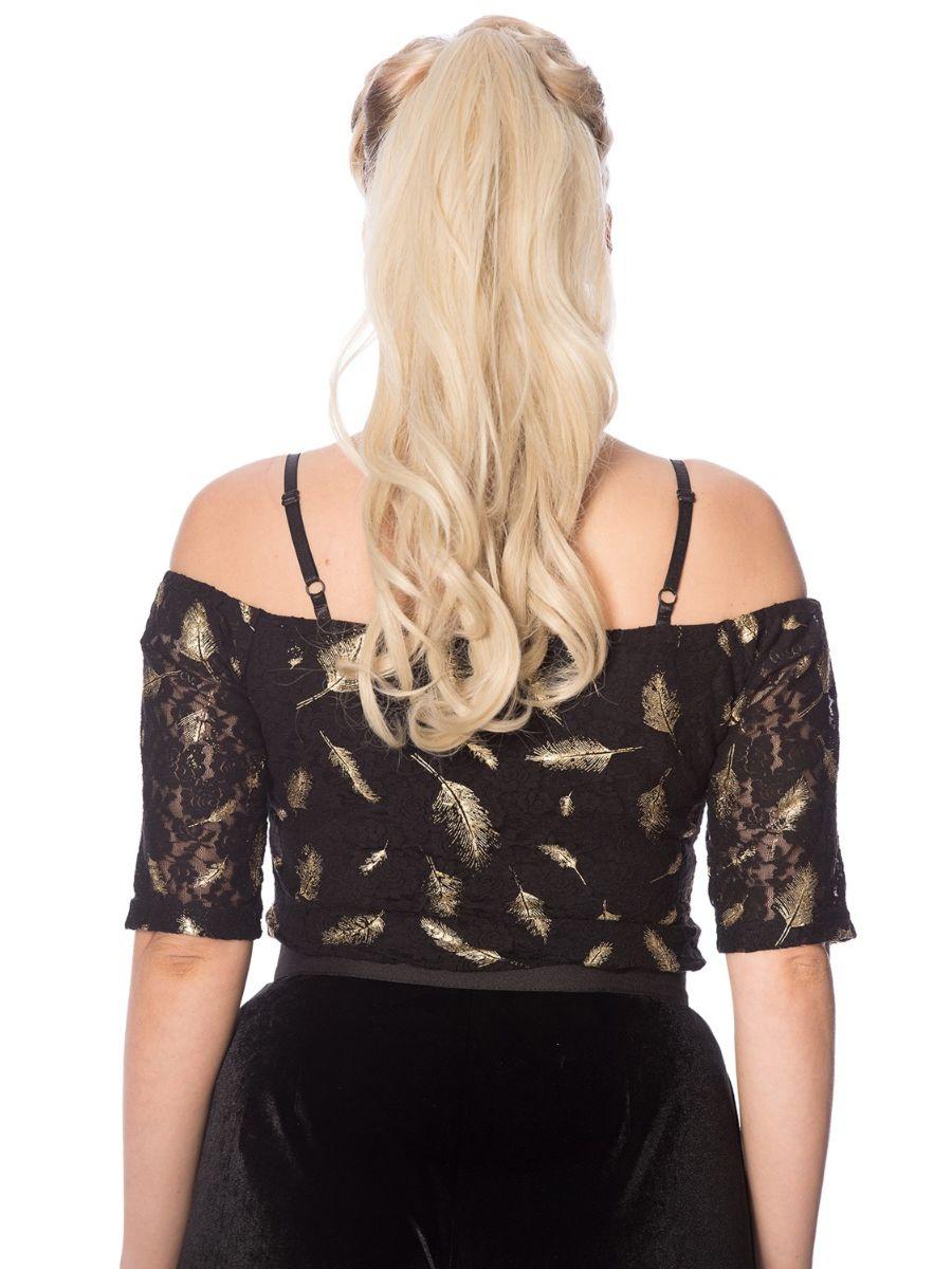 Banned Retro Sparkle Feather Gold Glitter Off Shoulder Vintage Bardot Top Black