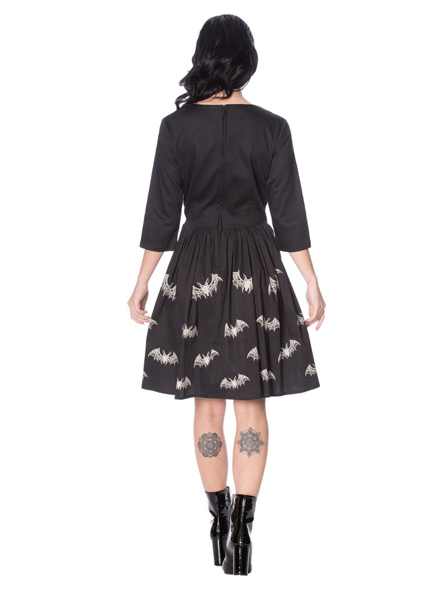 LACE BATS FLARED DRESS